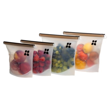 Silicone Bags Reusable - 4 Pack | Containers & Food Storage Containers | 2 Large 50oz + 2 Medium 30oz