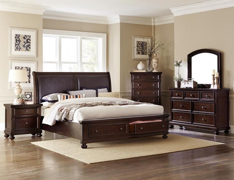 Fowler California King 5 Piece Bedroom Set in Dark Cherry - Walmart.com