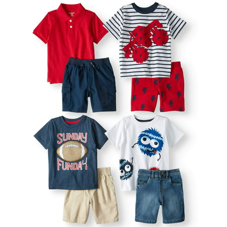 Garanimals Mix & Match Outfits Kid-Pack Gift Box, 8pc Set (Toddler Boys) - Toddler Boy Valentine Outfit