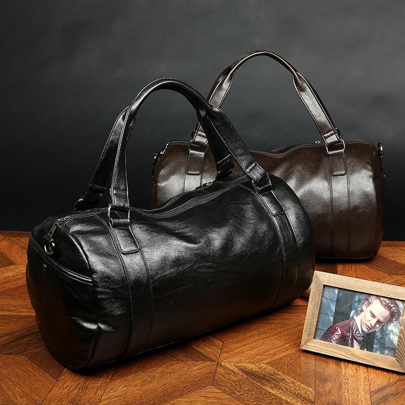 Bagail Men Large Leather Vintage Travel Gym Bag Weekend Overnight Bag Duffle Handbag by Bagail