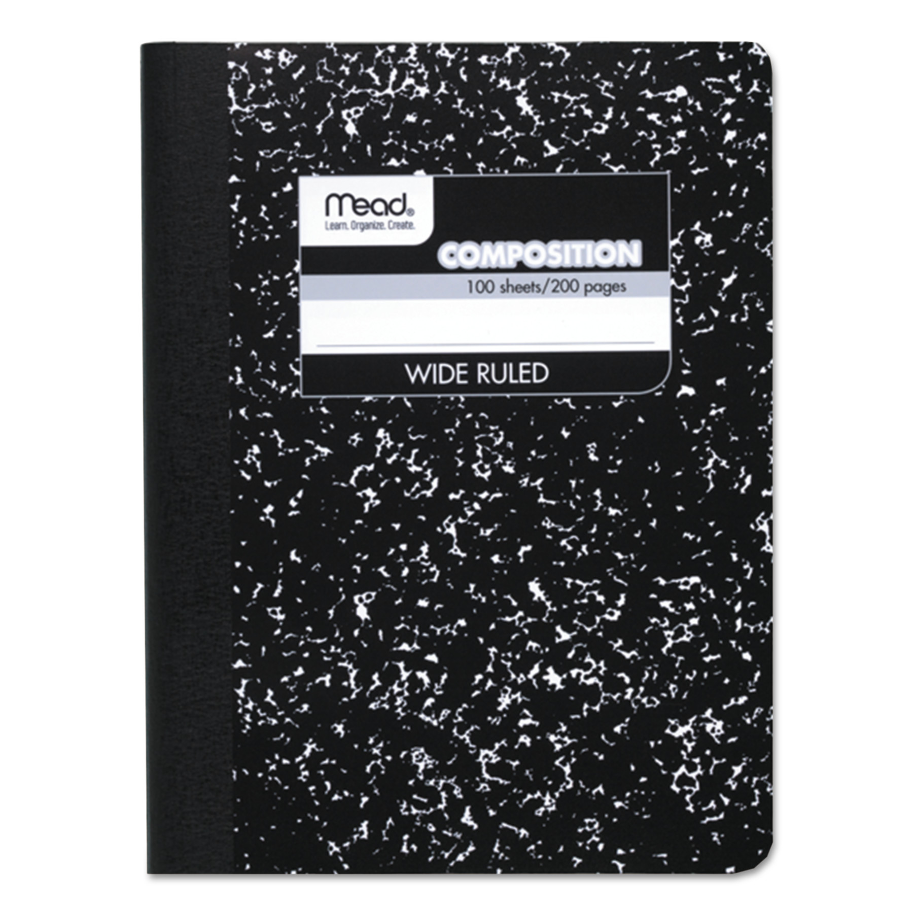 Mead Composition Book, Wide Rule, 9 3/4 x 7 1/2, White, 100 Sheets