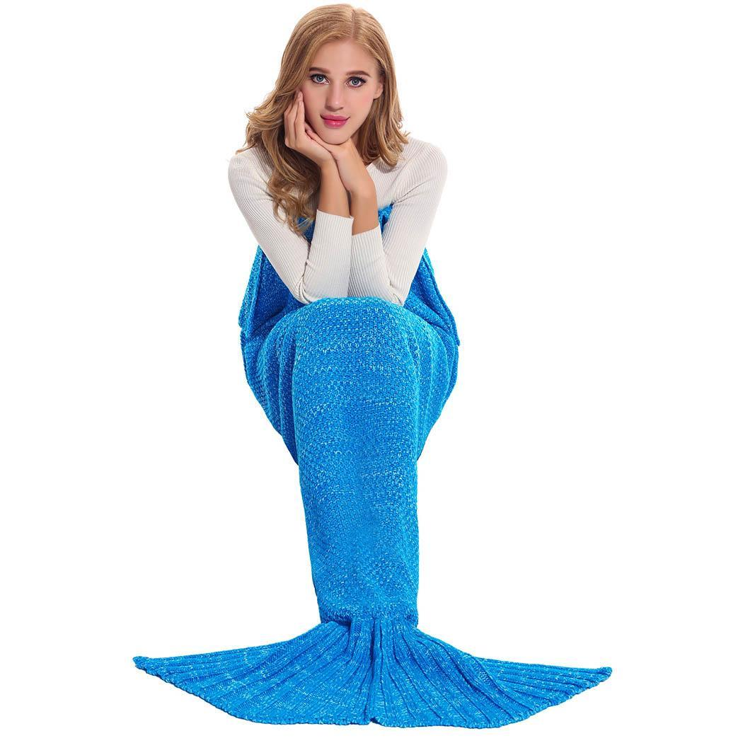 Fashion 100% Acrylic Knitted Mermaid Warm Tail Blanket For Adults and Kids BTC