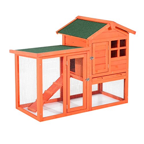 Pawhut 48 Wooden Chicken Coop w/Ladder and Outdoor Run - Orange
