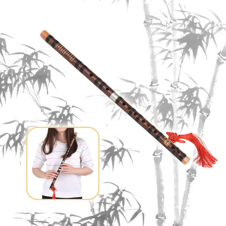 G Key Chinese Traditional Instrument Dizi Bitter Bamboo Flute with Chinese Knot for Beginners (Knot Flutes)