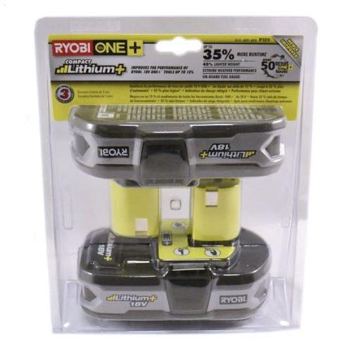 Ryobi P109 One+ 18V 1.3Ah Lithium Batteries P107 2-Pack