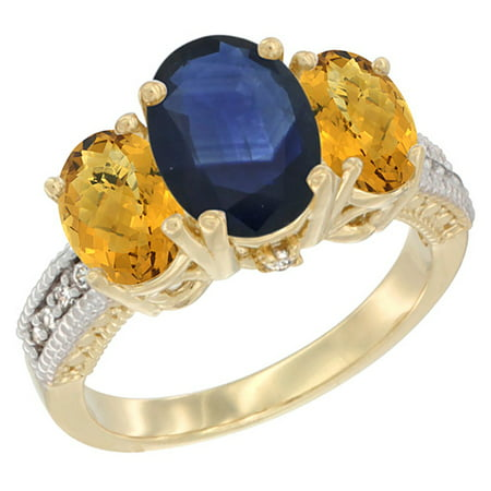 Natural Blue Sapphire Ring - 14K Yellow Gold Diamond Natural Blue Sapphire Ring 3-Stone Oval 8x6mm with Whisky Quartz, size 8