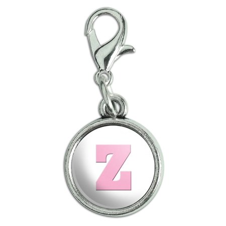Letter Z Initial Baby Girl Block Font Pink Shower Antiqued Bracelet Pendant Zipper Pull Charm with Lobster Clasp (Font Charm)