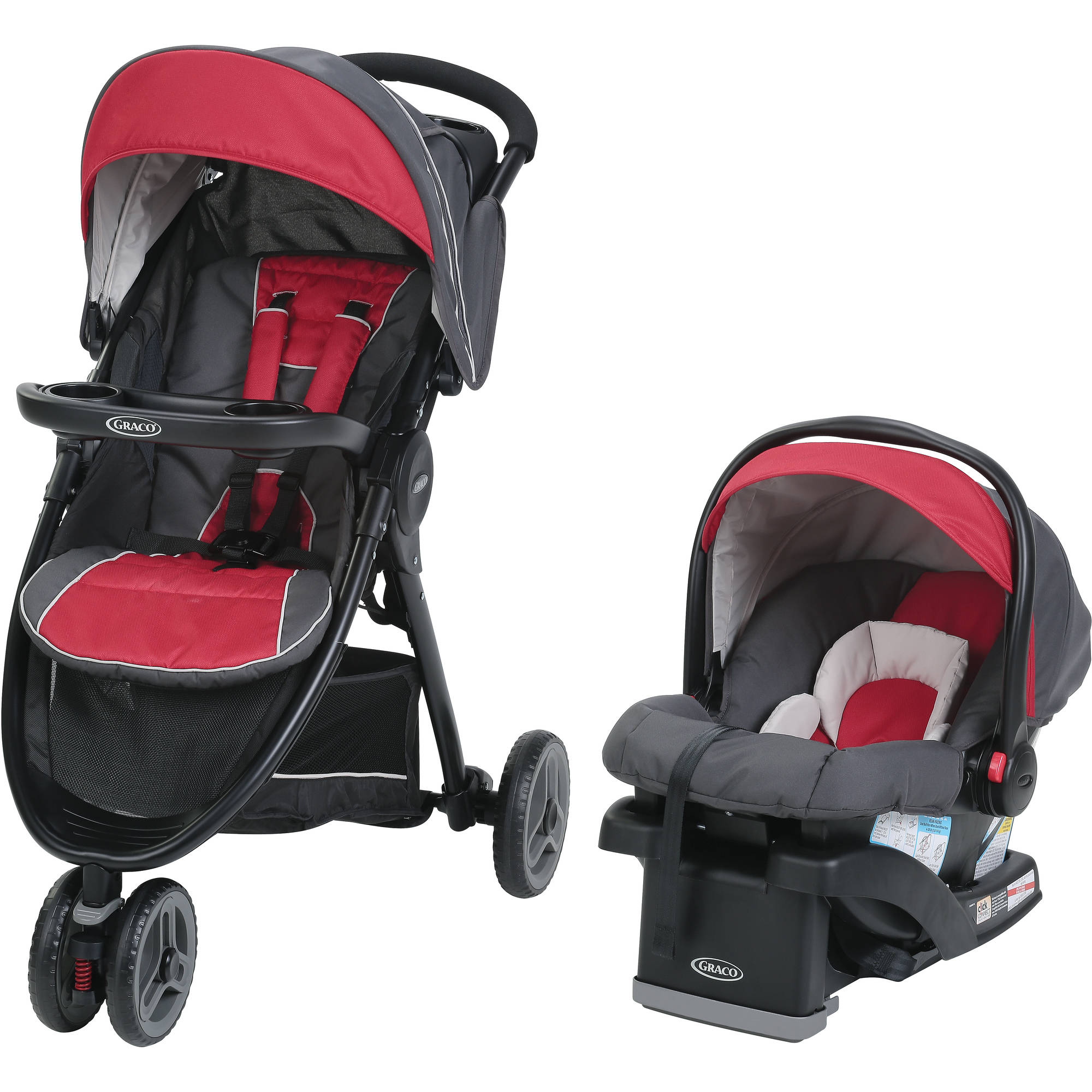 Graco Fastaction Sport Lx Travel System Car Seat Stroller Combo Chili Red Walmart Com