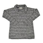 New  Jones New York Multi Long Sleeve Printed Cowl Neck Sweater Black Ivory Grey Small