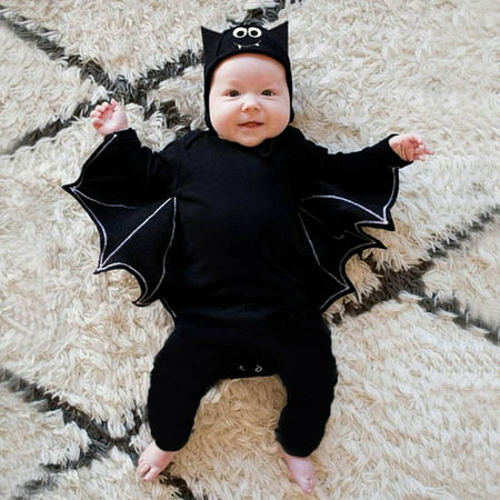 Family Halloween Costumes With Baby Girl (Tuscom Newborn Baby Boy Girl Halloween Bat Cosplay Costume Romper Jumpsuit Hat Outfits)
