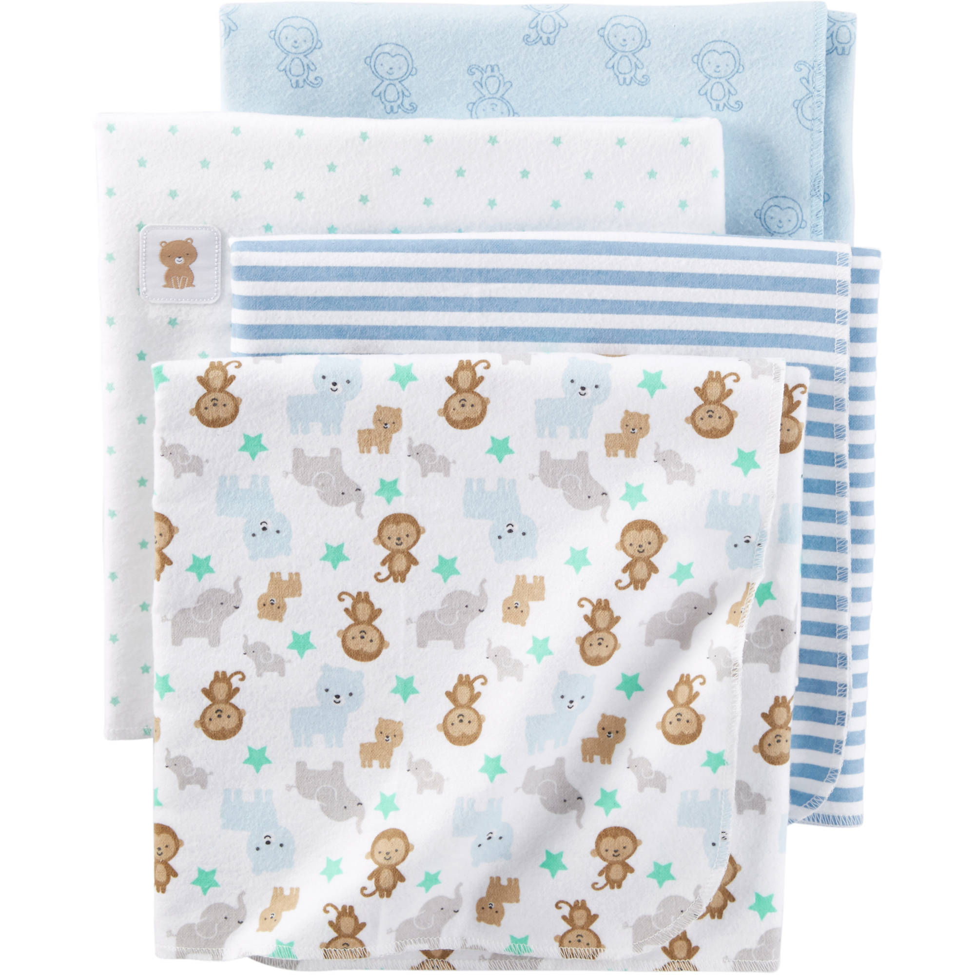 Child of Mine Newborn Baby Flannel Receiving Blanket, 4pk, Blue