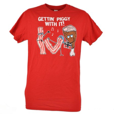 Stripper T Shirts (Gettin Piggy With It Bacon Strips Dancing Funny Tshirt Tee Novelty Red)
