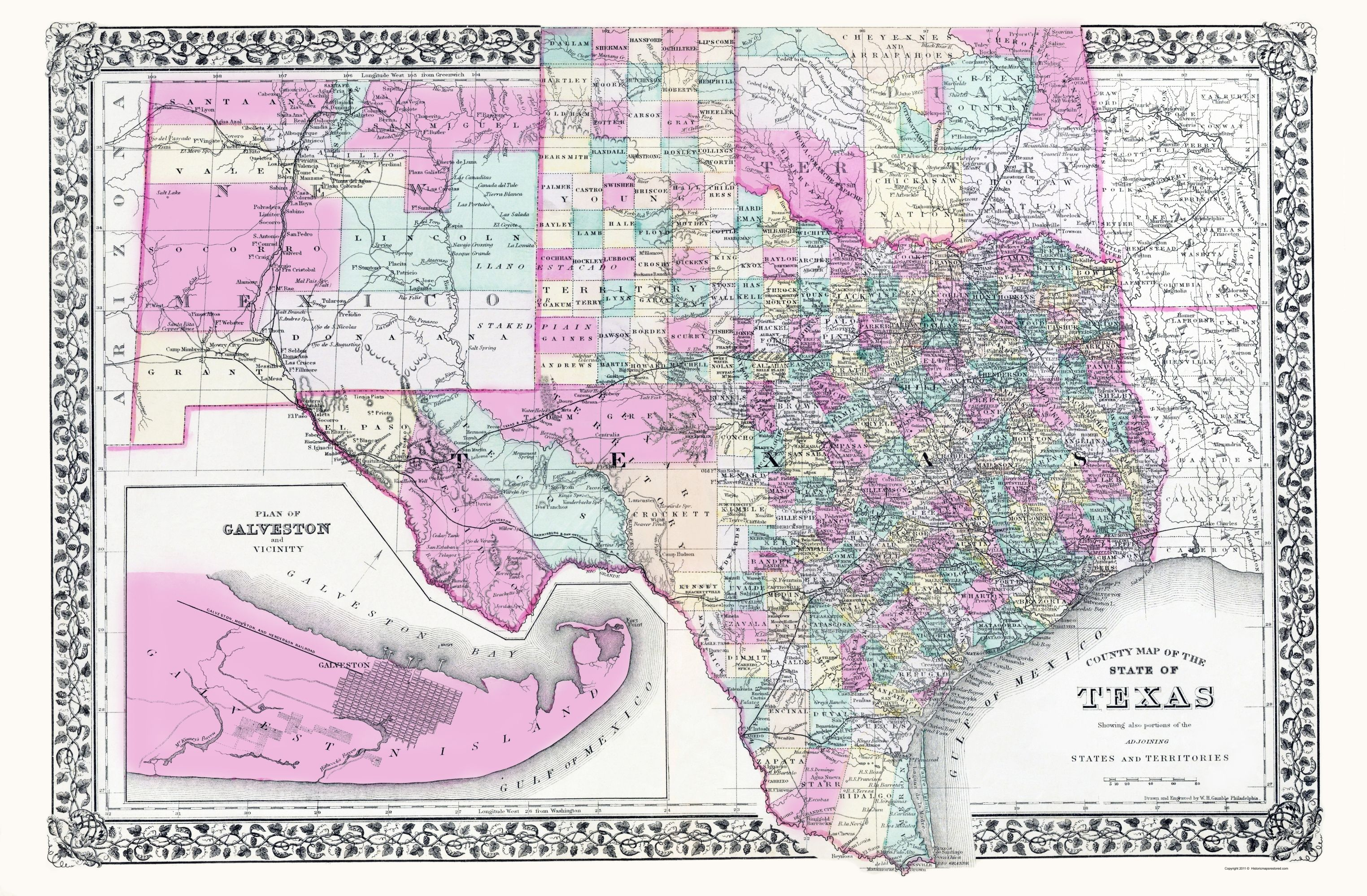 Old State Map Texas New Mexico And Indian Territory Gamble 1890