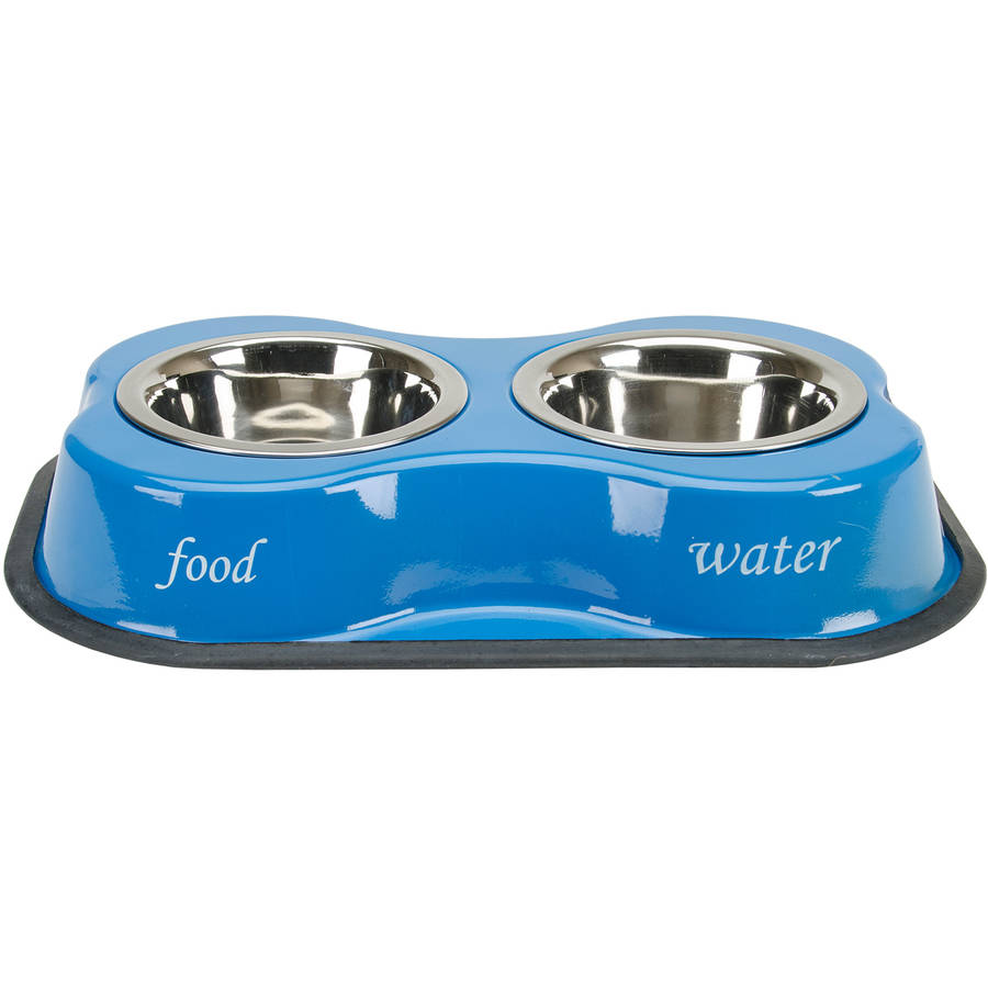 Bone Shaped Double Diner W/2 1pt Stainless Steel Bowls, Bone and Paws Print Blue