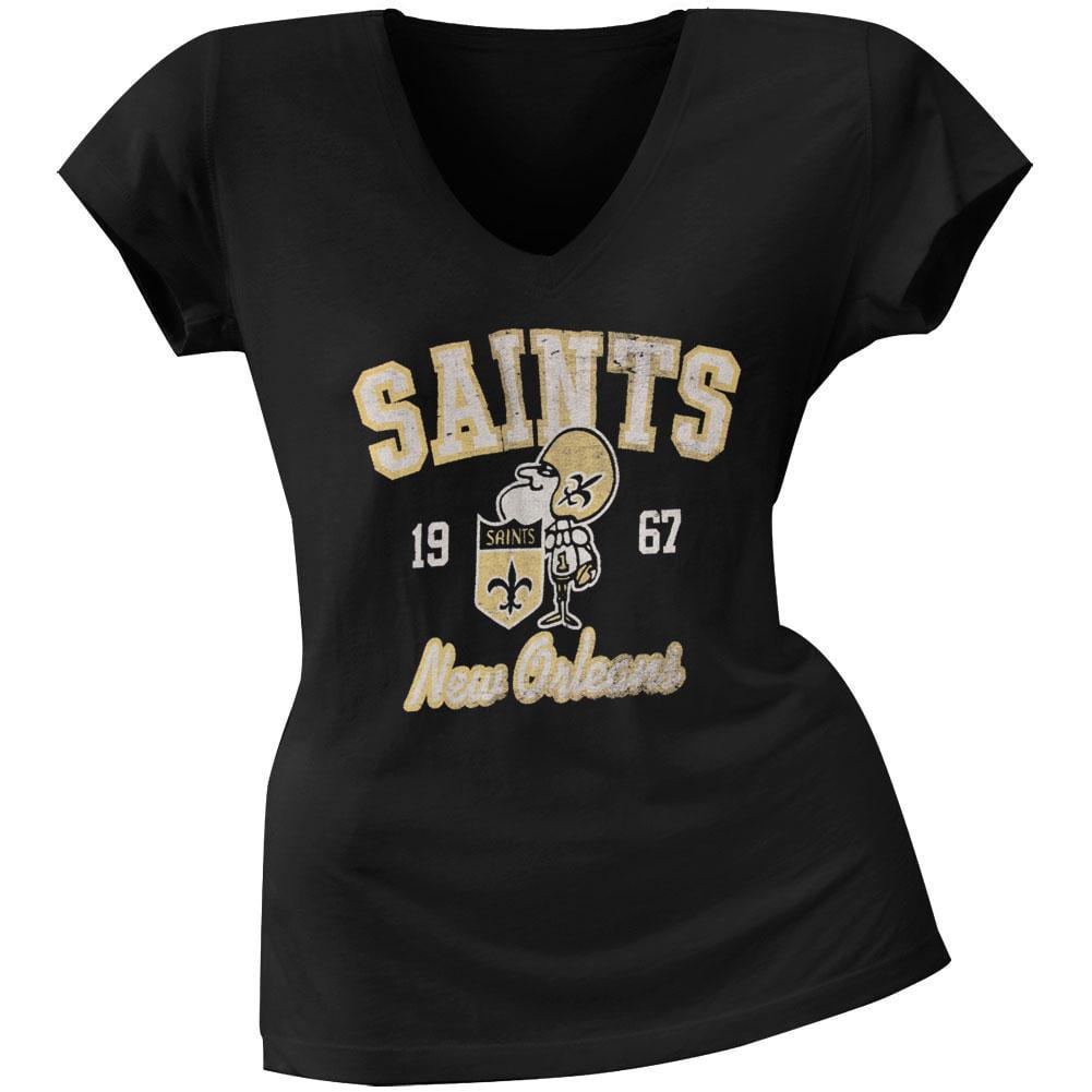 New Orleans Saints - Flanker Logo Premium Juniors V-Neck T-Shirt - Large