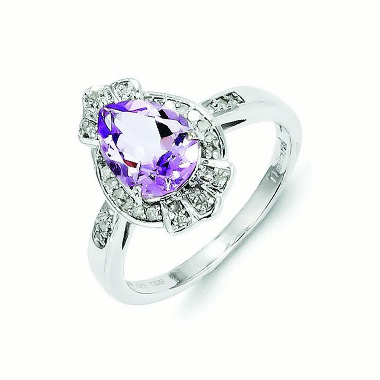 Sterling Silver Diamond and Pink Amethyst Teardrop Ring Ring Size: 7 to 9 by
