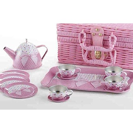 Delton Products Tin 15 Pieces Tea Set in Basket Pink Bow Serveware - image 1 of 1