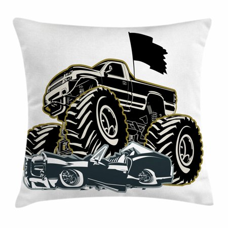 Monster Truck Throw Pillow Cushion Cover, Rubber Tyre Car Flattening a Vintage Vehicle Graphic Image, Decorative Square Accent Pillow Case, 20 X 20 Inches, Black Coconut Charcoal Grey, by Ambesonne ()