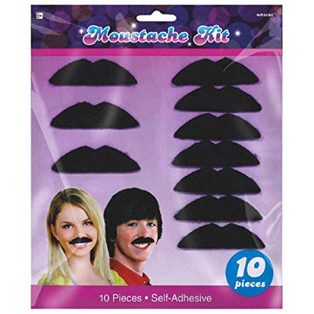 Mustache 70s (Mustache Kit - 10 Count Self-Adhesive 70's)