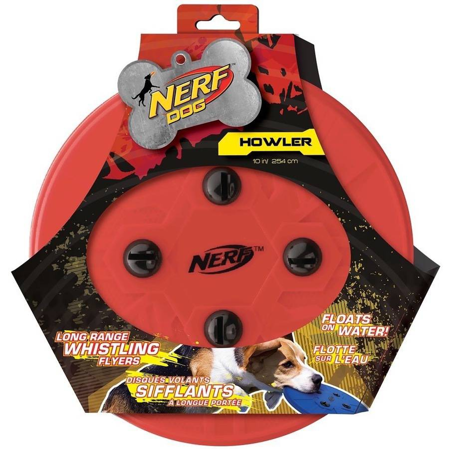 Nerf Dog Whistle Flying Disc, Red