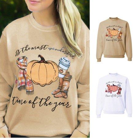Fashion Women Halloween Pumpkin Long Sleeve Blouse Ladies Casual Pullover Top - image 3 de 5