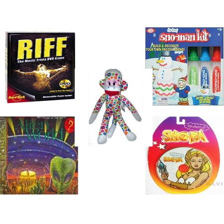 Children's Gift Bundle [5 Piece] -  Riff DVD  - Sno Paint Snowman Kit  - Street Players Flower Sock Monkey   15