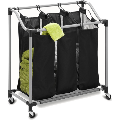 Honey Can Do Triple Laundry Sorter with Removable Bags, Black/Gray