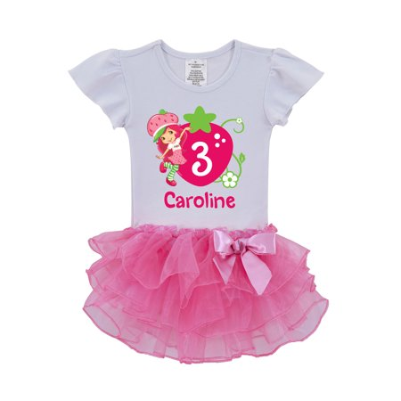 Personalized Strawberry Shortcake Birthday Toddler Pink Tutu Shirt, 2T, 3T, 4T, 5/6T for $<!---->