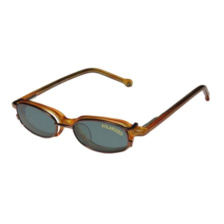 New Smartclip 952 Mens/Womens Designer Full-Rim Caramel With Polarized Clip-on Lenses Frame Demo Lenses 39-15-120 Sunglass Lens Clip-Ons Spring Hinges (Designer Sunglass Frames)