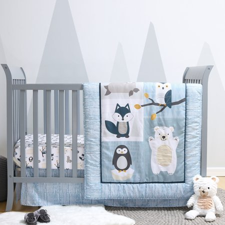 Nordic Wonder 4 Piece Arctic Wildlife Themed Baby Boy Crib Bedding Set ()