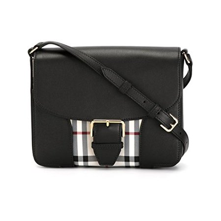 BURBERRY Woman's Dickens Black Horseferry Check Leather Messenger Crossbody  Bag