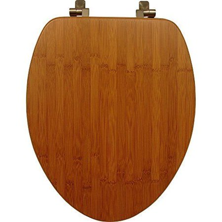 Mayfair 19401NI 568 Solid Bamboo Toilet Seat with Brushed Nickel Hinges, Elongat