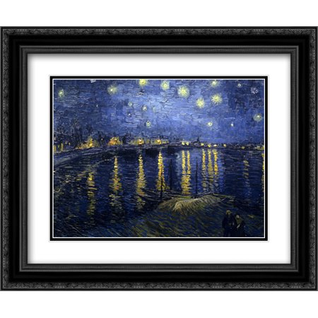 (Starlight Over The Rhone 2x Matted 24x20 Black Ornate Framed Art Print by Vincent Van Gogh)
