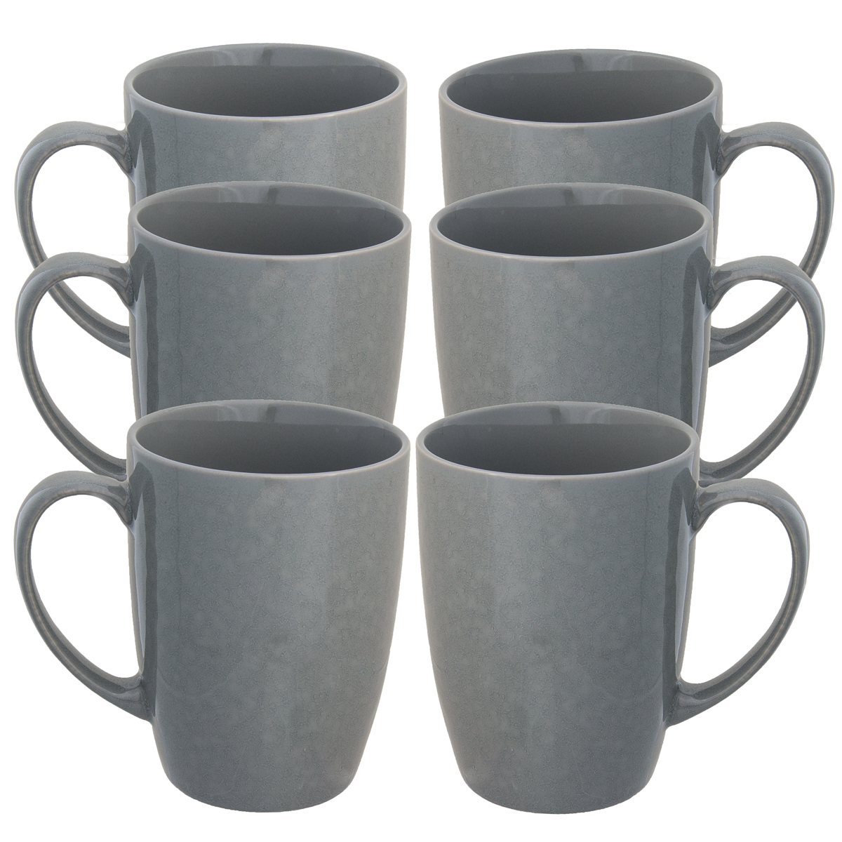 Fuse (6 Pack) Porcelain Coffee Mug With Handles Set Glazed Ceramic Mug 15oz Reusable Hot Cocoa Tea Cup