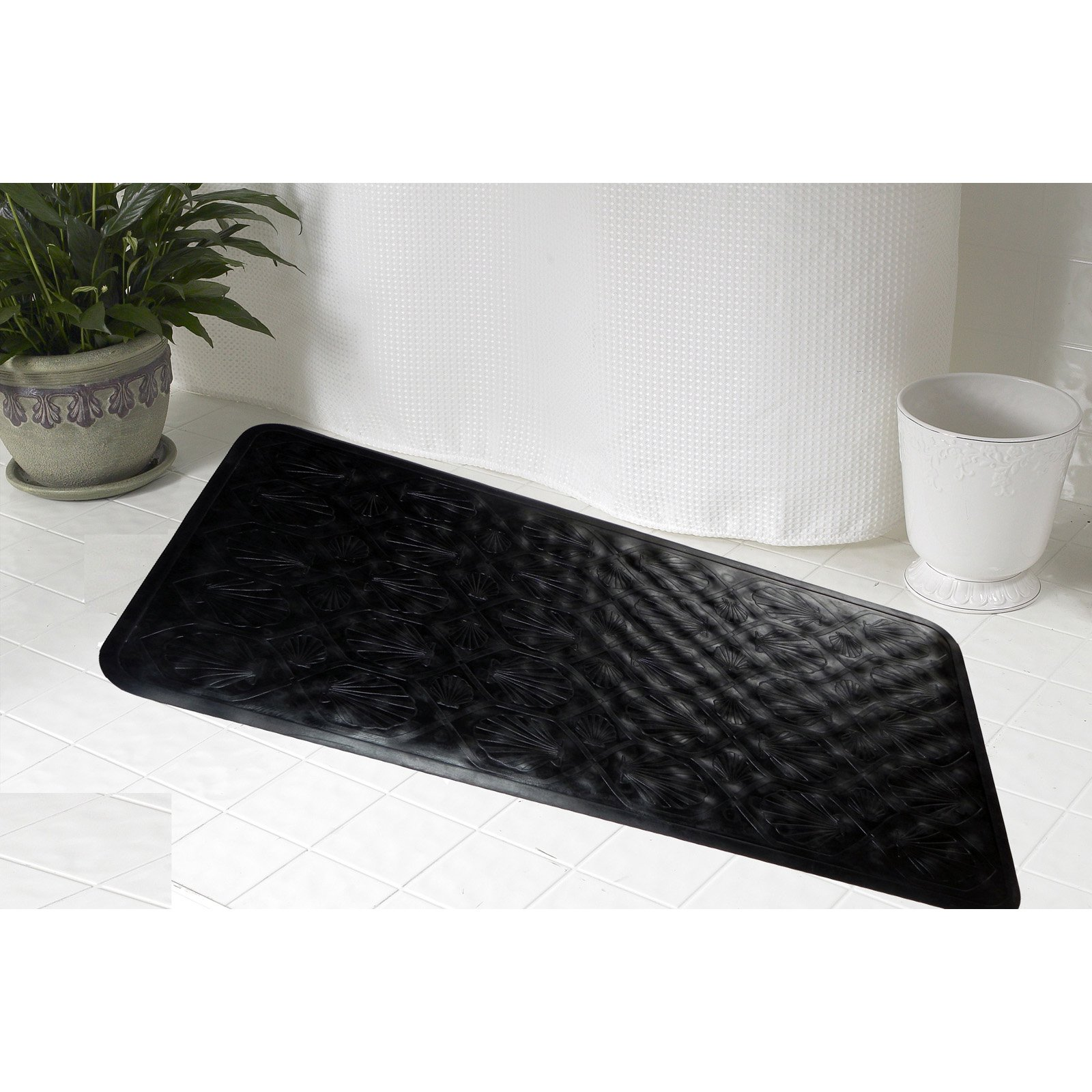 Large (18'' x 36'') Slip-Resistant Rubber Bath Tub Mat in Black