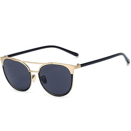 d4be0a608fb OWL - OWL Eyewear Sunglasses 86026 C1 Women s Metal Fashion Black Gold Frame  Smoke Lens - Walmart.com