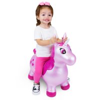 Waddle! Unicorn Bouncer! Inflatable Ride on Hopper Toy (Pink Shimmer)