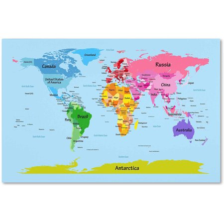 Trademark fine art world map for kids canvas art by michael trademark fine art world map for kids canvas art by michael tompsett gumiabroncs Image collections