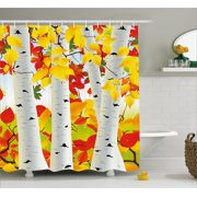 Fall Shower Curtain Autumn Scene With Orange Fallen Leaves Dying Nature Cycle Of Life Theme