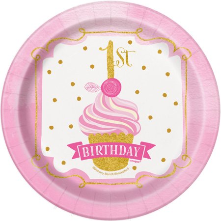 1st Birthday Plate (Pink and Gold 1st Birthday Paper Dessert Plates, 7in,)