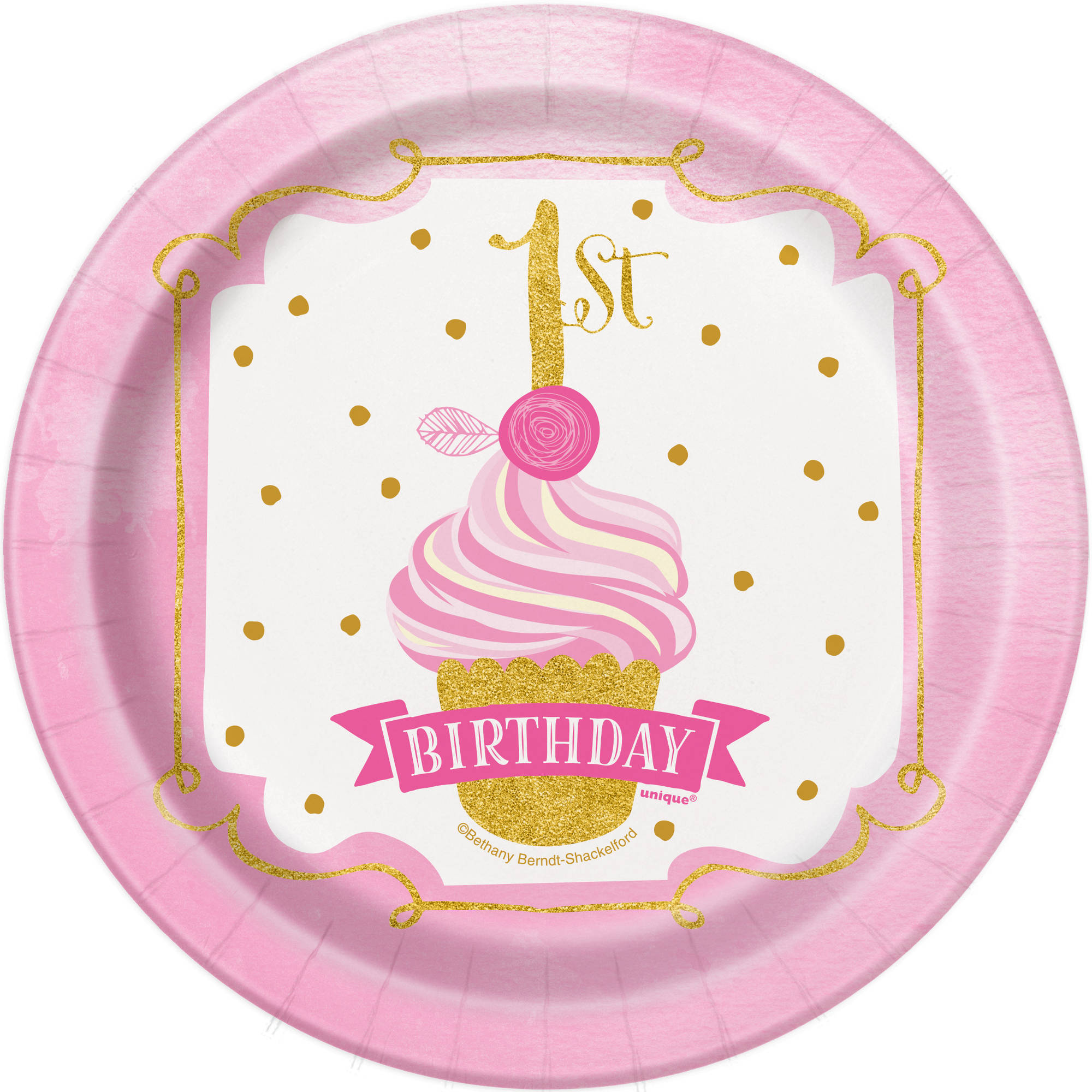 "7"" Pink and Gold Girls First Birthday Paper Dessert Plates, 8ct"