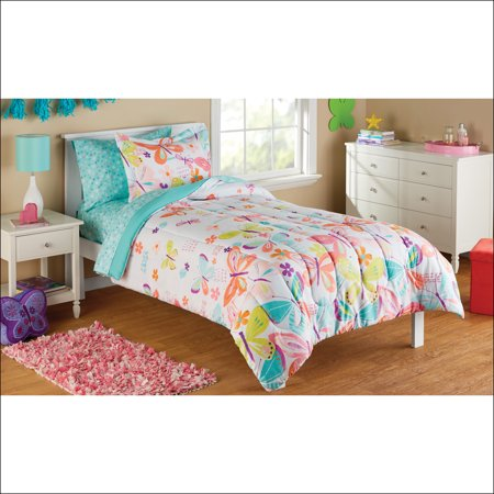 Mainstays Kids Microfiber Twin Butterfly Bed in a Bag, 1 Each