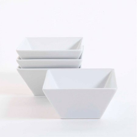"Gibson Studio Bistro Dining 6"" Square Cereal Bowls, Set of 4, White"