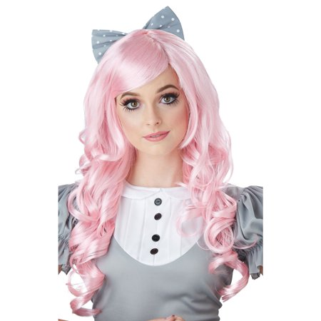 Pink Cosplay Doll Adult Wig w/ Clip on (Best Wig With Bows)