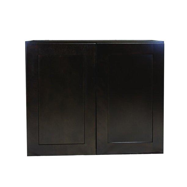 Design House Brookings Fully Assembled 27x36x12 In Shaker Style Kitchen Wall Cabinet 2 Door In Espresso Walmart Com Walmart Com