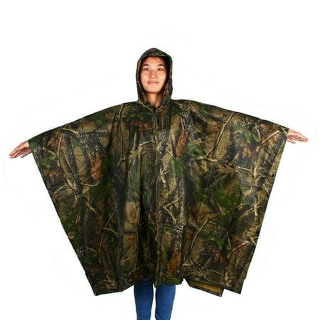Ripstop Nylon Poncho (Watertight Hooded Ripstop Cloak Nylon Rain Poncho Jungle Camping Hiking)
