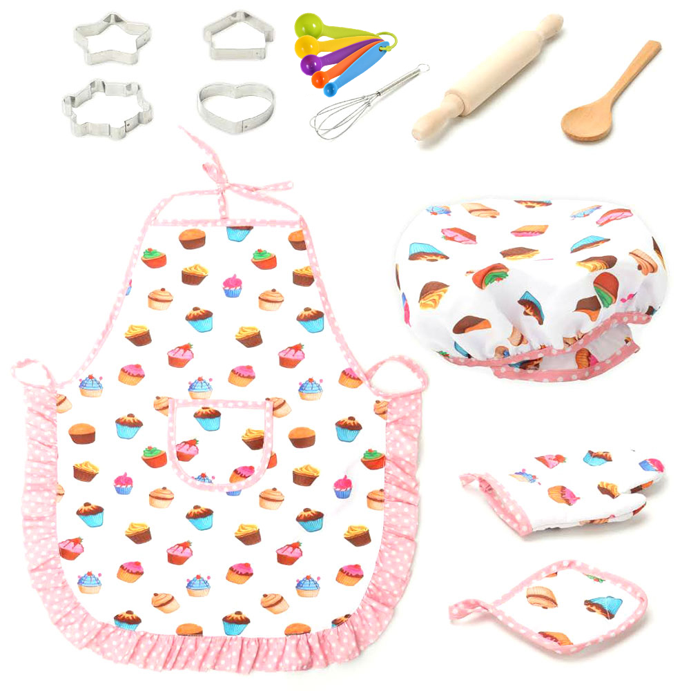 Kids Cooking and Baking Set,Kitchen Role Play Set Includes Apron For Little N2K5