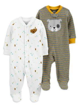 Child of Mine by Carter's Baby Boys Cotton Thermal Sleep 'N Play Pajamas, 2-Pack (Preemie-9M)