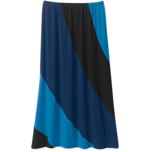 George Women's Plus-Size Colorblock Knit Maxi Skirt