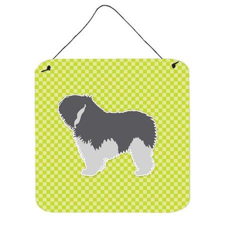 Polish Lowland Sheepdog Dog Checkerboard Green Wall or Door Hanging Prints
